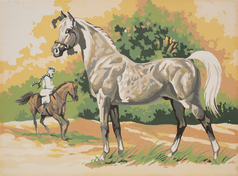 White Stallion Vintage Art Print