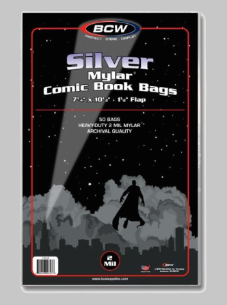 Silver Mylar 2 Mil Comic Bags