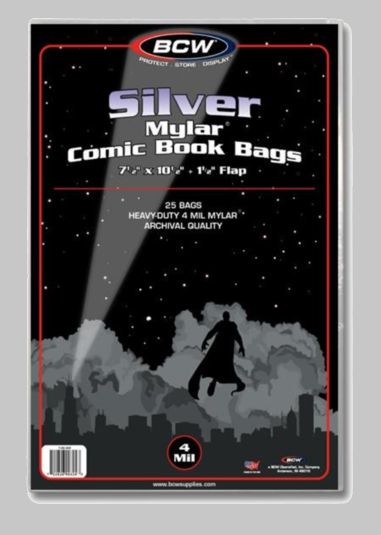 Silver Mylar 4 Mil Comic Bags
