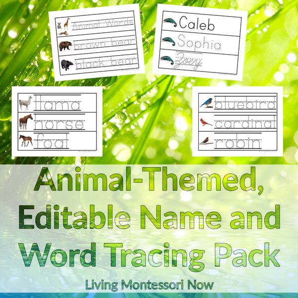 Animal-Themed, Editable Name and Word Tracing Pack