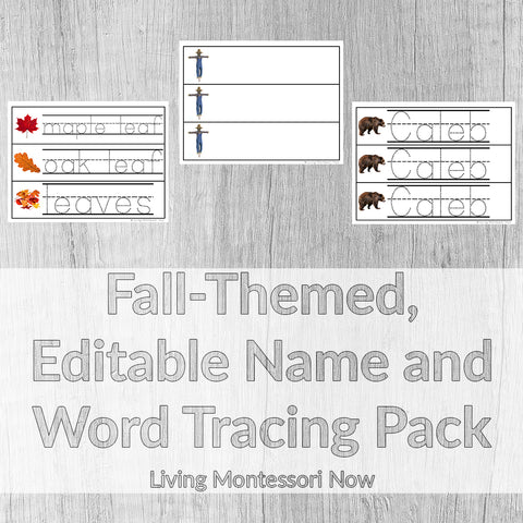 Fall-Themed, Editable Name and Word Tracing Pack