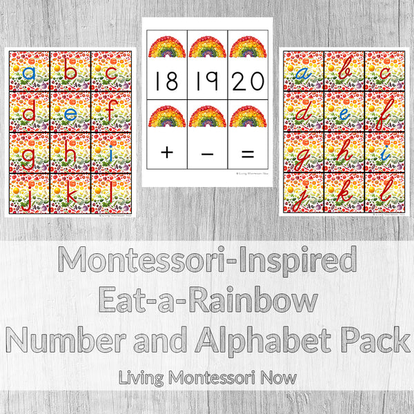 Montessori-Inspired Eat-a-Rainbow Number and Alphabet Pack
