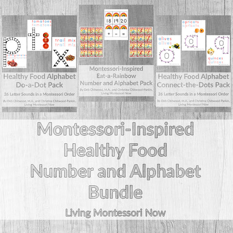 Montessori-Inspired Healthy Food Number and Alphabet Bundle