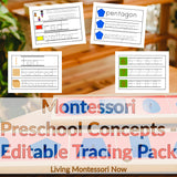 Montessori Preschool Concepts - Editable Tracing Pack