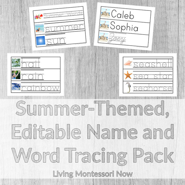 Summer-Themed, Editable Name and Word Tracing Pack