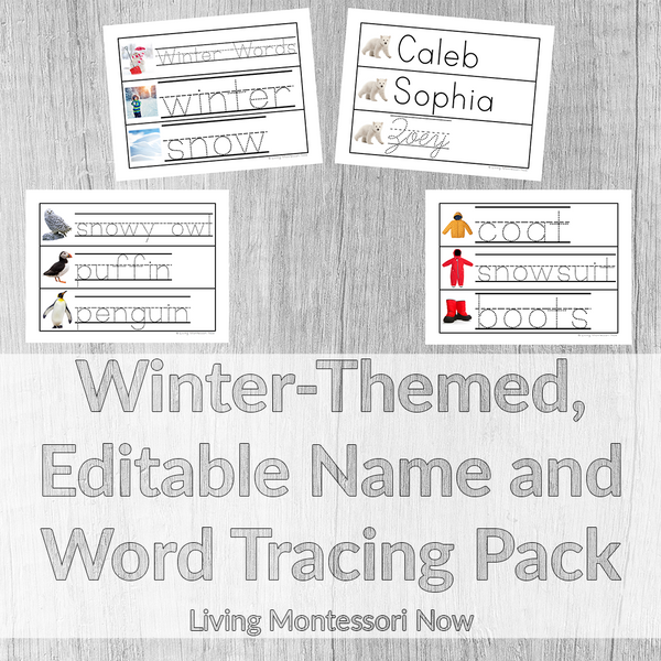 Winter-Themed, Editable Name and Word Tracing Pack