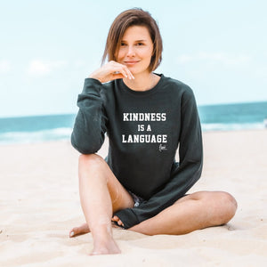 KINDNESS IS A LANGUAGE 3.0 Crewneck Pullover - Charcoal (Unisex)