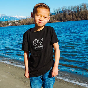 PEACE, LOVE + KIND VIBES Crewneck Tee - Black (Kids)