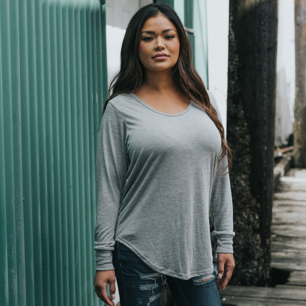FEMME Long Sleeved Tee - Heather Grey (Ladies - Adults)