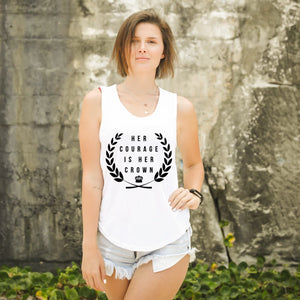 HER COURAGE IS HER CROWN Femme Muscle Tank (White)