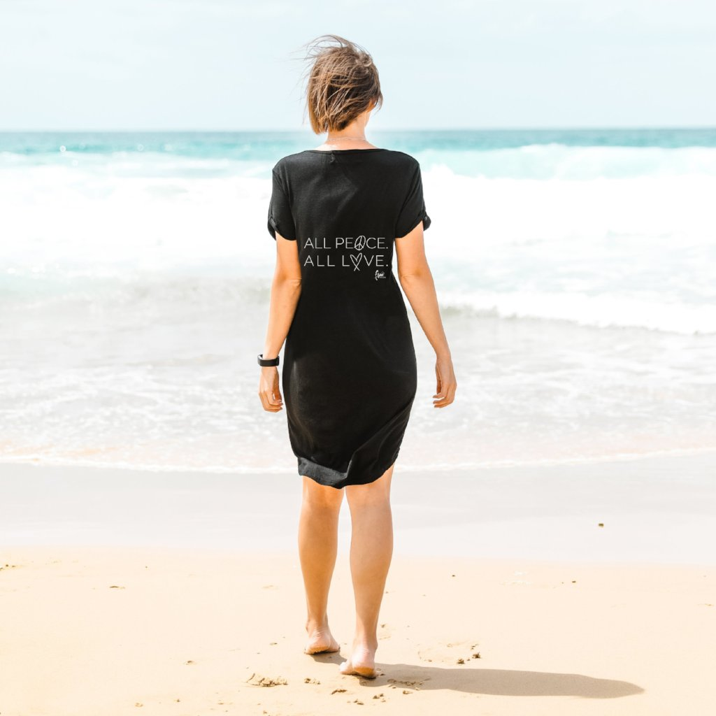 ALL PEACE. ALL LOVE. Femme Tee Shirt Dress - Black (Ladies)