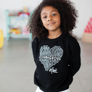 COURAGEOUS Crewneck Sweater - Black (Unisex - Kids)