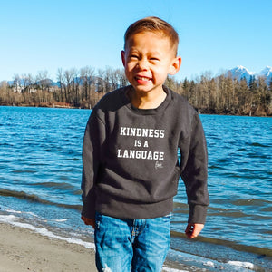 KINDNESS IS A LANGUAGE 3.0 Crewneck Sweater - Charcoal (Kids)