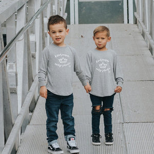 KIND PEOPLE ONLY PLEASE 2.0 Long Sleeved Tee - Heather Grey (Unisex - Kids)