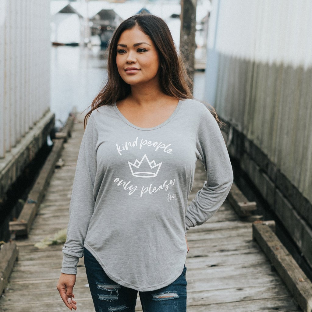 KIND PEOPLE ONLY PLEASE 2.0 Femme Long Sleeved Tee - Heather Grey (Ladies - Adults)