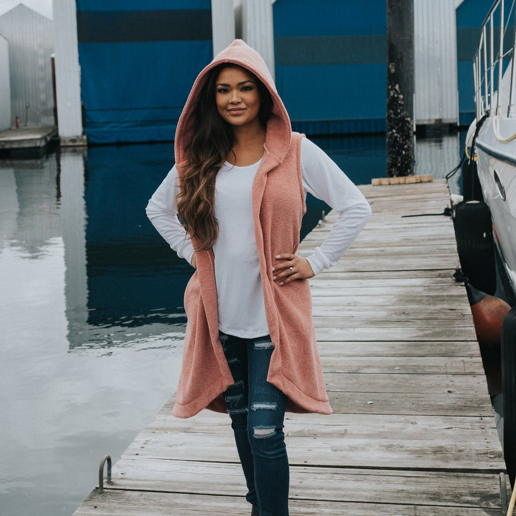 ODYSSEY Hoodie Vest - Dusty Rose (Ladies - Adults)