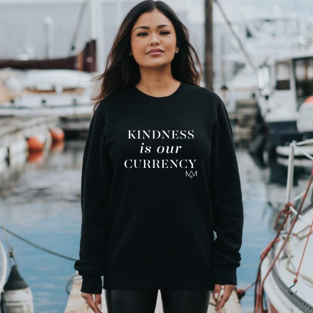 MAMAS FOR MAMAS: KINDNESS IS OUR CURRENCY Collaboration Crewneck Sweater - Black (Unisex - Adults)