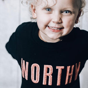 WORTHY Crewneck Pullover - Black w/ Dusty Rose Applique (Kids)