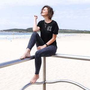 PEACE, LOVE + KIND VIBES Femme Crewneck Tee - Black (Ladies)