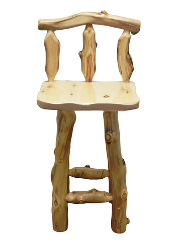 Aspen Grizzly 30  Barstool w  Back No Swivel   Wood Furniture Pro. Mountain Woods   Wood Furniture Pro