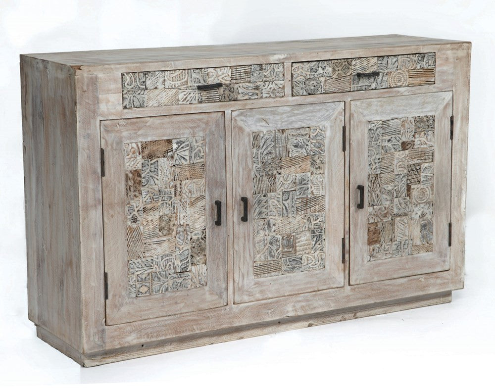 Charming Crestview Bengal Manor Reclaimed Mango Wood Tiles Sideboard   CVFNR311