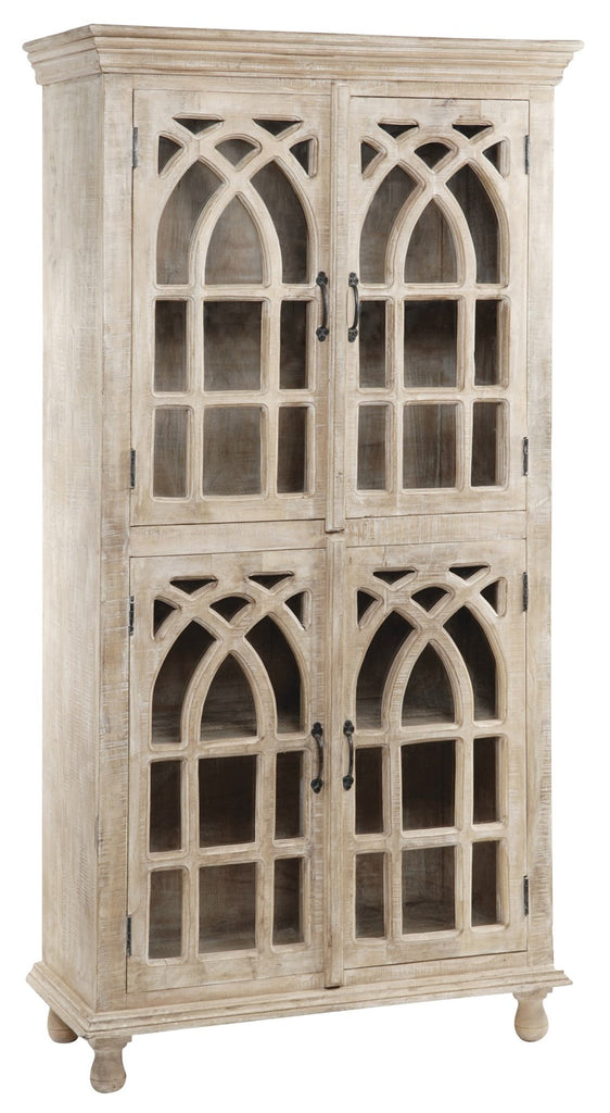 Crestview Bengal Manor Light Mango Wood Cathedral Design 4 Door Cabinet -  CVFNR321