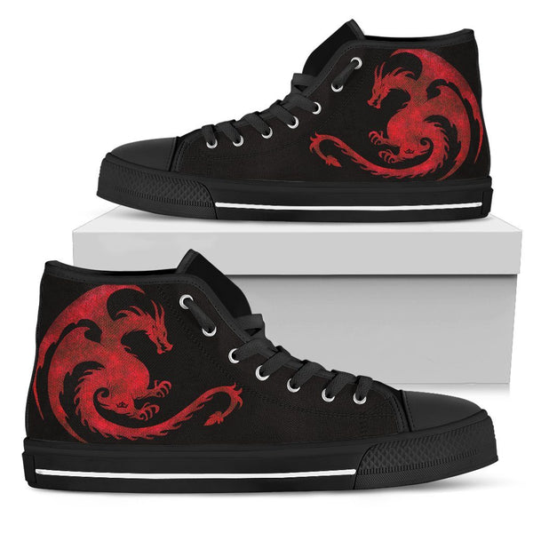 Legendary Dragon Men's High Top Shoes in Fire