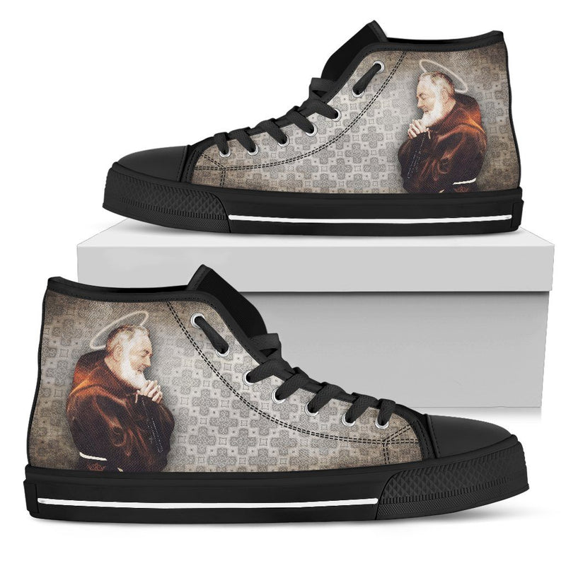 St. Pio Women's High Top Shoes in Church Smoke and Black