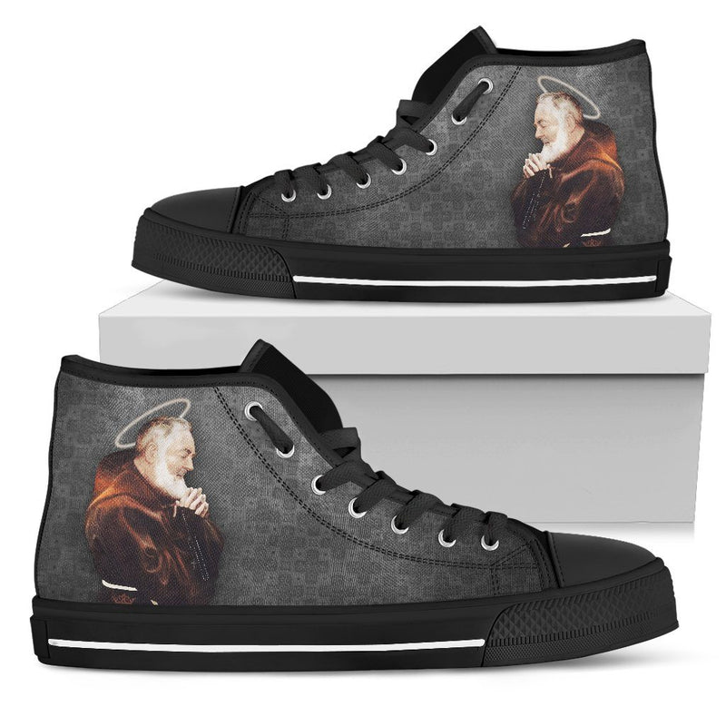 St. Pio Women's High Top Shoes in Soft Charcoal and Black