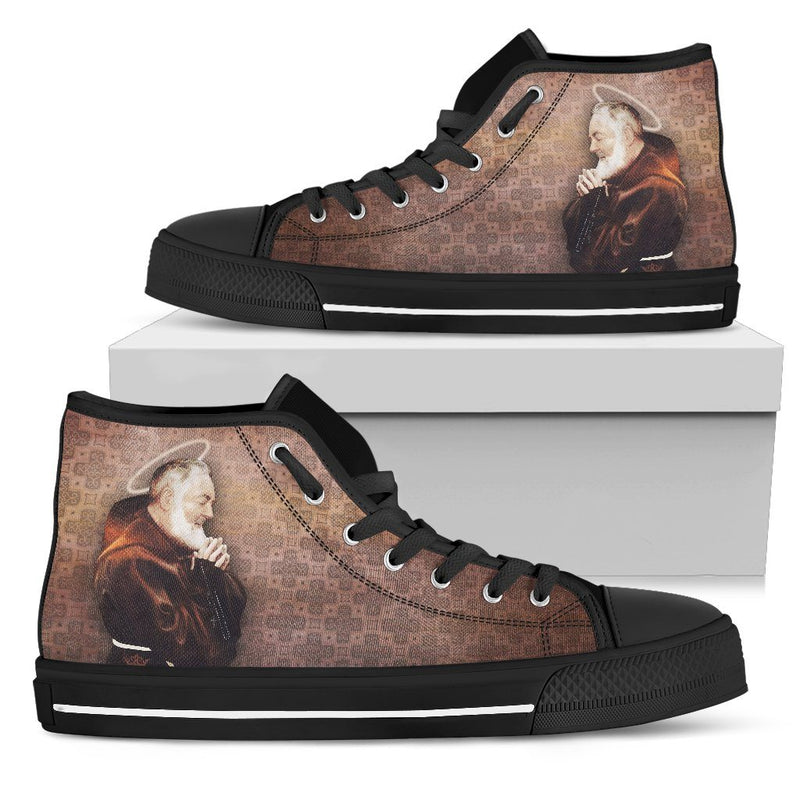 St. Pio Women's High Top Shoes in Burnt Sienna and Black