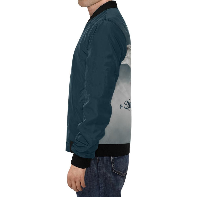 St. Michael the Archangel Men's Bomber Jacket (Navy Blue)