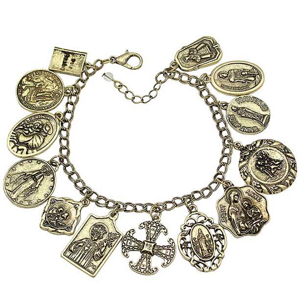 Assembly of Saints Bracelet of Medals in Antique Gold