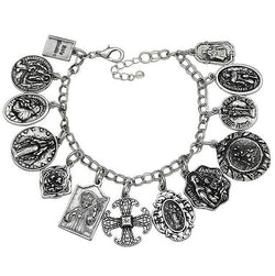 Assembly of Saints Bracelet of Medals in Antique Silver