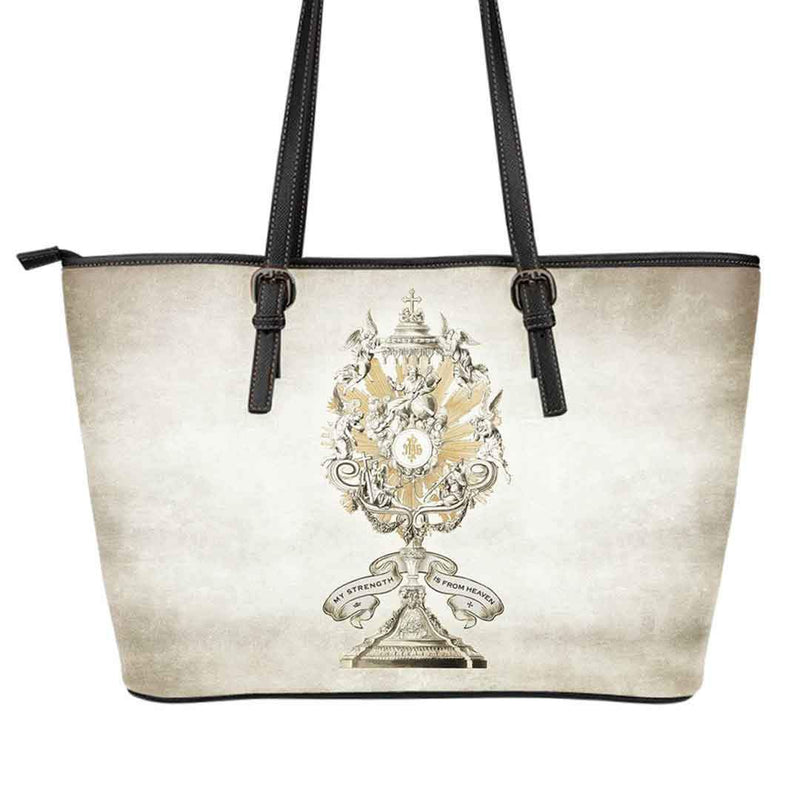 Divine Strength Monstrance Large Tote Bag in Parchment
