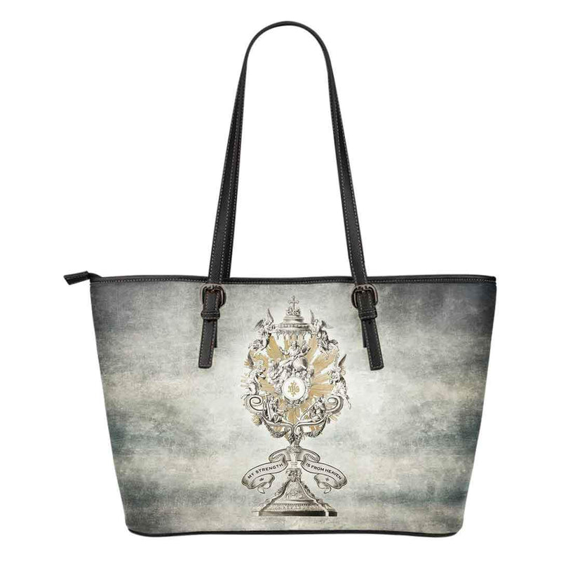 Divine Strength Monstrance Large Tote Bag in Vintage Slate