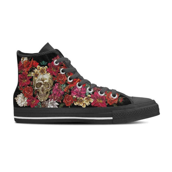 Flower Skull Women's High Top Shoes Black
