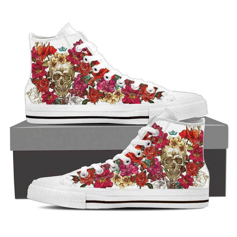 Flower Skull Women's High Top Shoes White