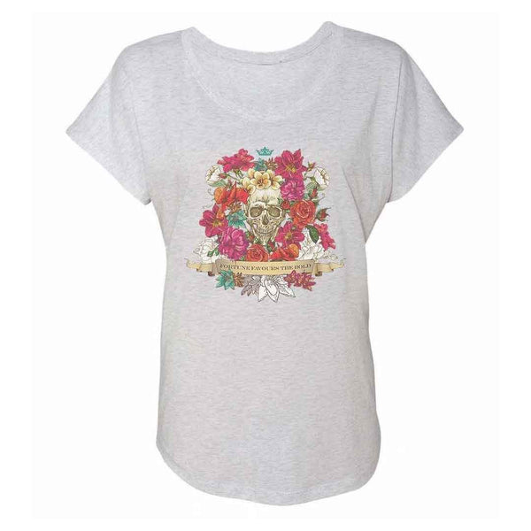 Fortune Favours The Bold Flower Skull Women's Tri-Blend Tee