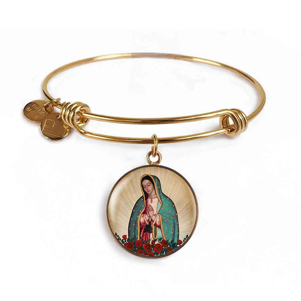Our Lady of Guadalupe Charm Bangle Bracelet in 18k Gold