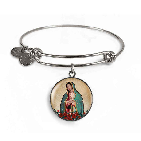 Our Lady of Guadalupe Charm Bangle Bracelet in Surgical Steel