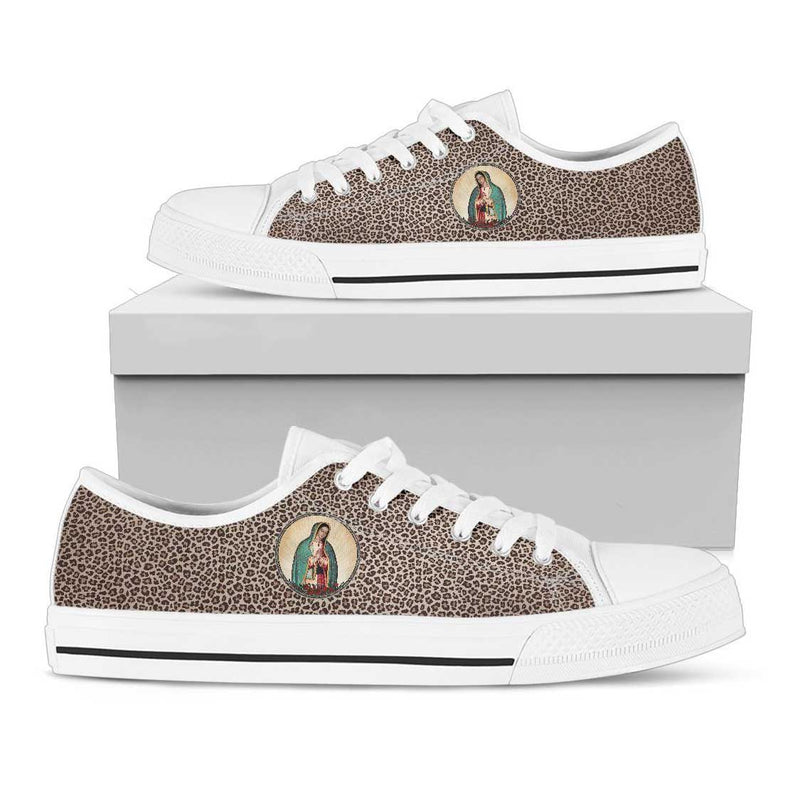 Our Lady of Guadalupe Women's Canvas Low Top Shoes (Leopard)