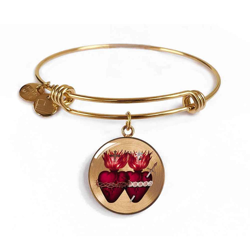 Sacred Hearts Charm Bangle Bracelet in 18k Gold