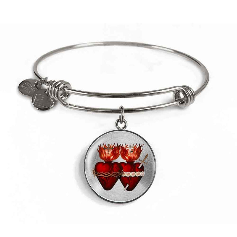 Sacred Hearts Charm Bangle Bracelet in Surgical Steel