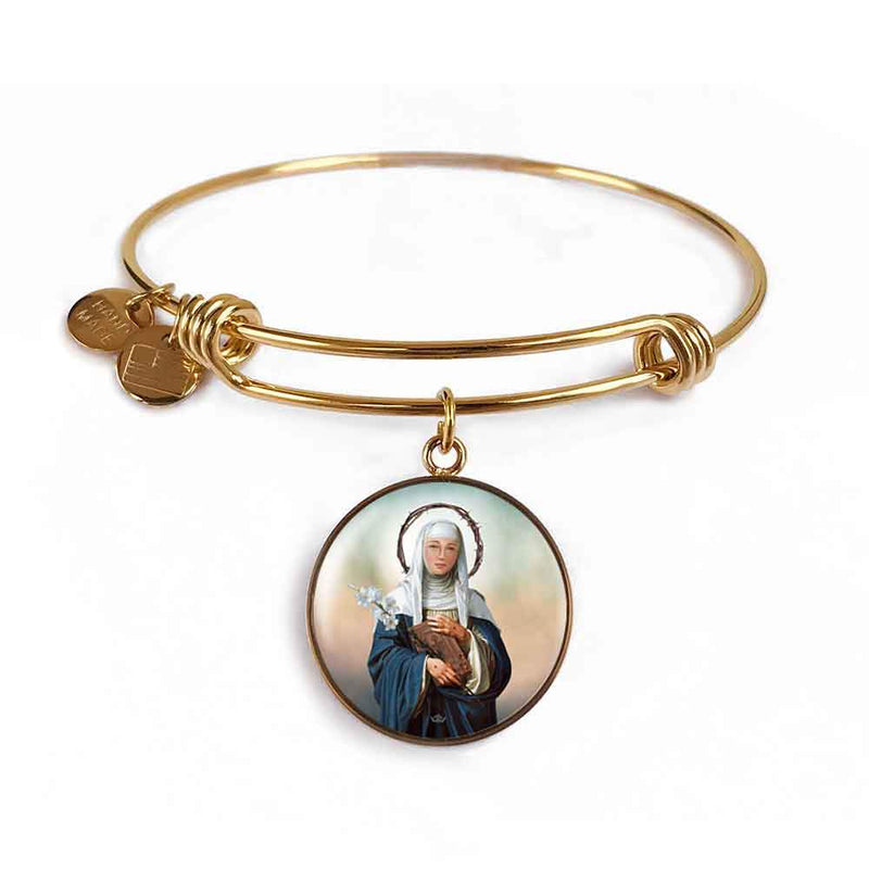 St. Catherine of Siena Charm Bangle Bracelet in 18k Gold Finish