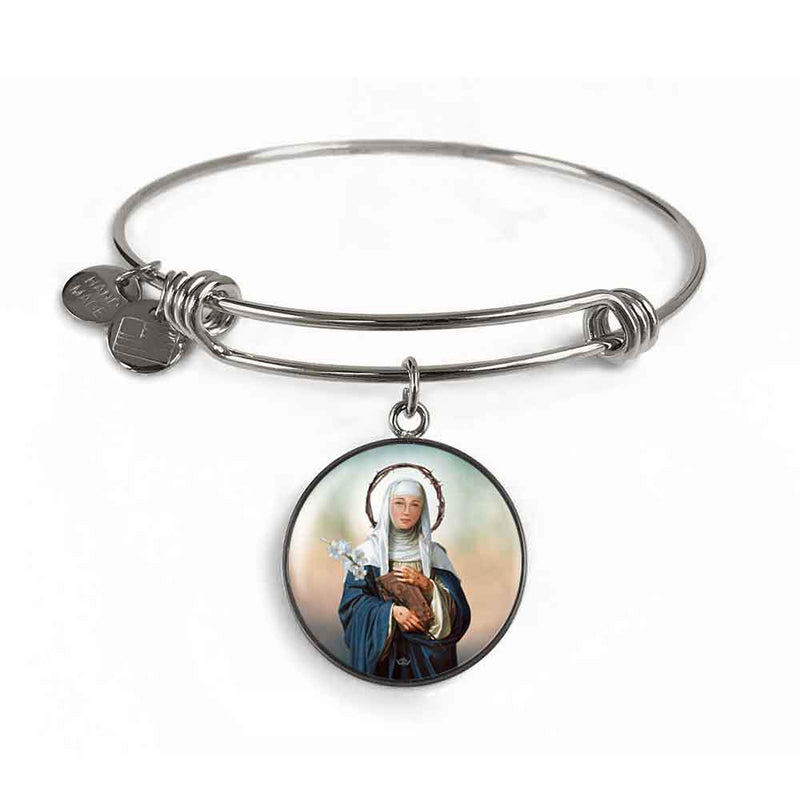 St. Catherine of Siena Charm Bangle Bracelet in Surgical Steel
