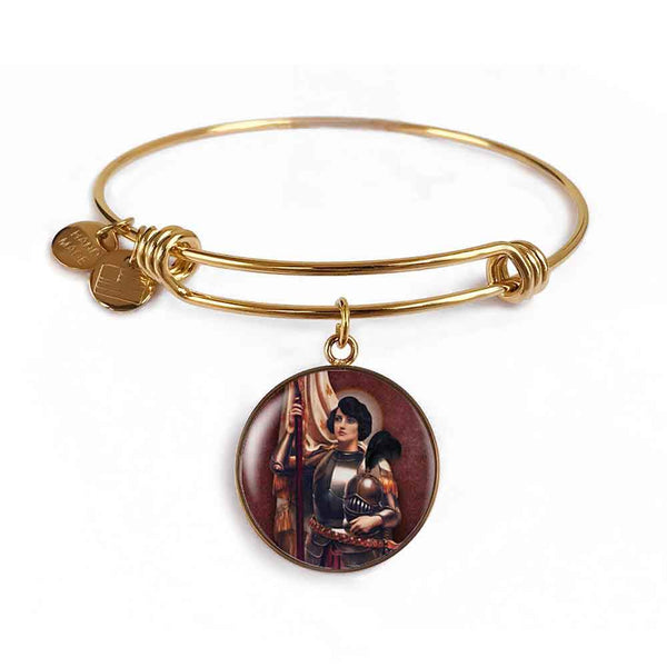 St. Joan of Arc Charm Bangle Bracelet in 18k Gold Finish