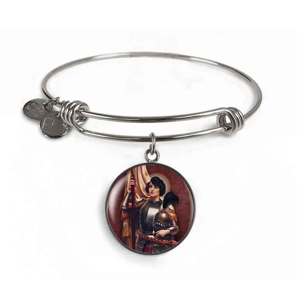 St. Joan of Arc Charm Bangle Bracelet in Surgical Steel
