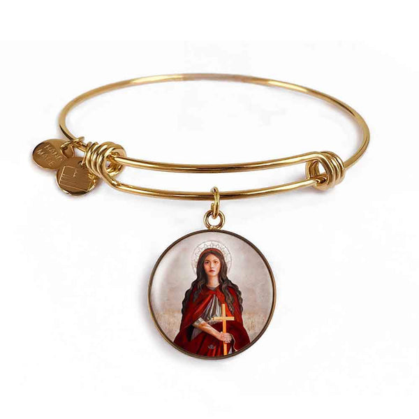 St. Mary Magdalene Charm Bangle Bracelet in 18k Gold Finish