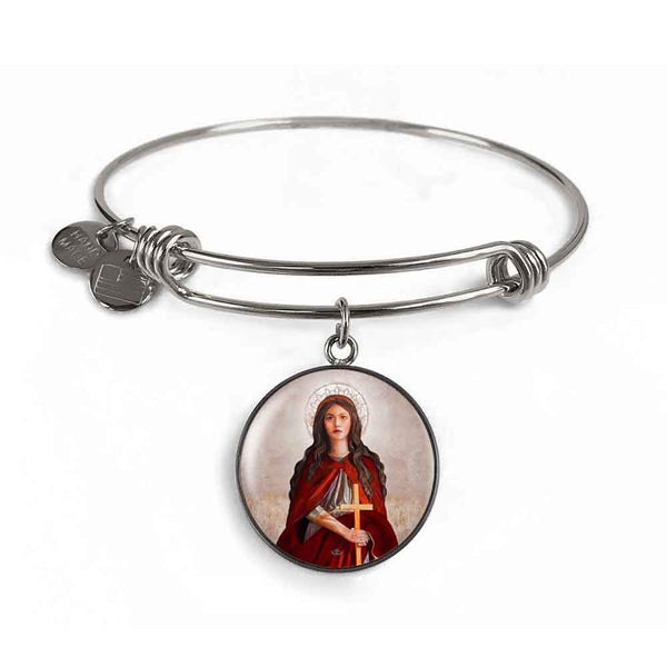 St. Mary Magdalene Charm Bangle Bracelet in Surgical Steel