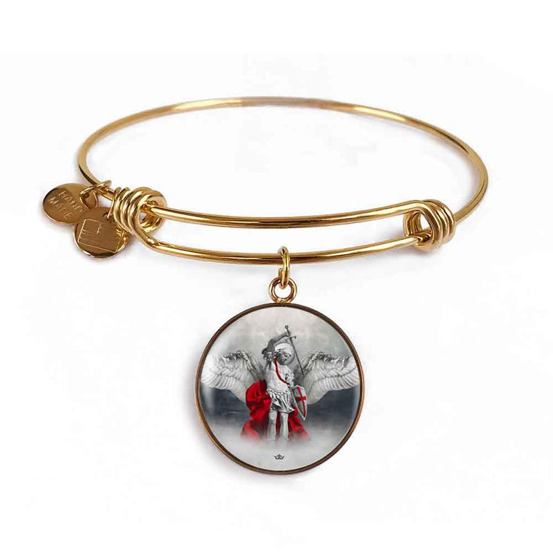 St. Michael the Archangel Charm Bangle Bracelet in 18k Gold Finish